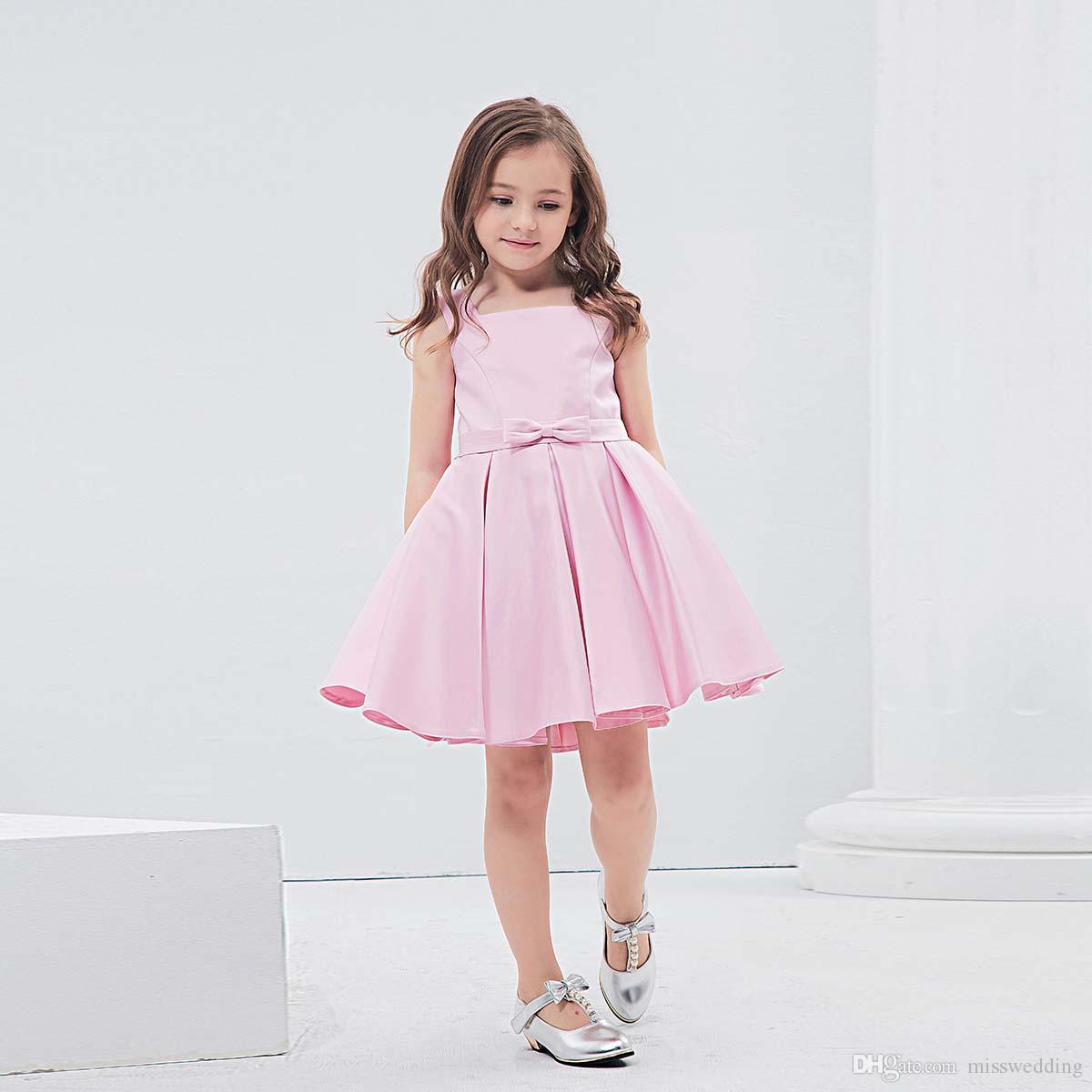 12c693b1f94 2019 New Design Cheap Children Dresses With Bow Knee Length Zip Back Girls  Satin Dress Black And White Flower Girl Dress Bridesmaid And Flower Girl  Dresses ...