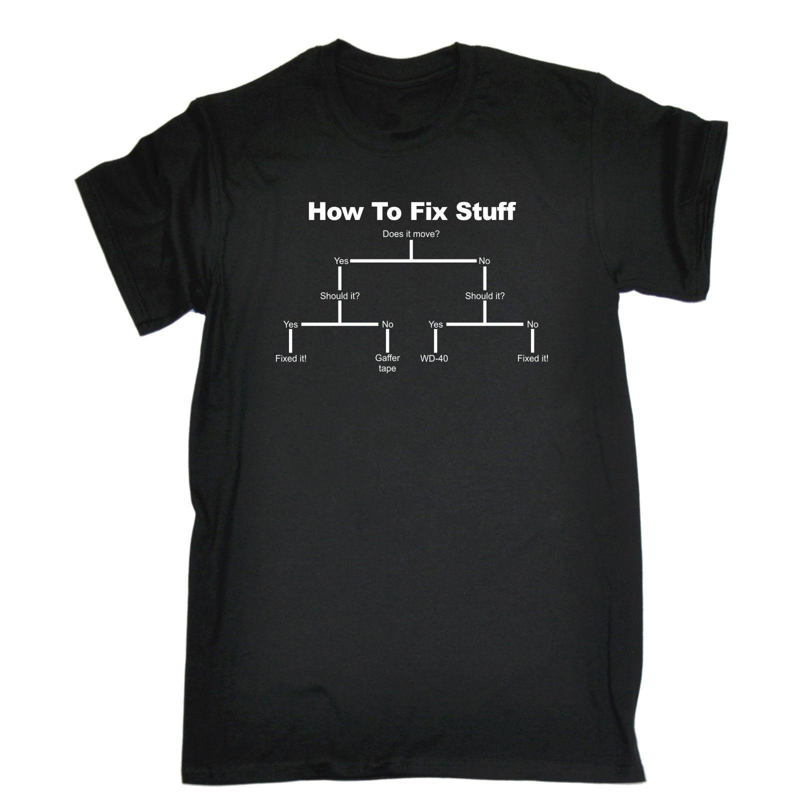 5ca40733c8 How To Fix Stuff T SHIRT Tee Him Diy Engineer Builder Funny Birthday Gift  Brand Shirts Jeans Print Mens Pride Dark T Shirt Design Your T Shirt  Personalized ...