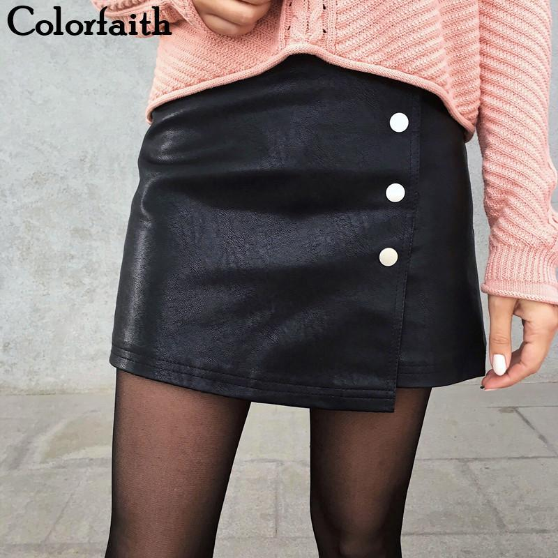 e74cc28f9136 faith 2019 Women Leather Skirt Autumn Winter Buttons A Line Casual Eelegant  Ladies Fashion Package Hip Mini Skirt Sk8702 Q1904016 From Lizhang02, ...