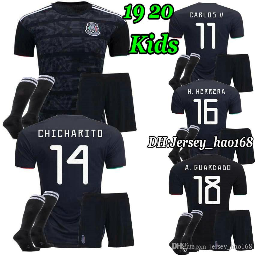 2f73667c894 2019 Boys 2019 Gold Cup Mexico Soccer Jersey Kids Kit Black Mexico Home  Green Soccer Jerseys H. LOZANO CHICHARITO Child Shirts Uniform From  Jersey hao168