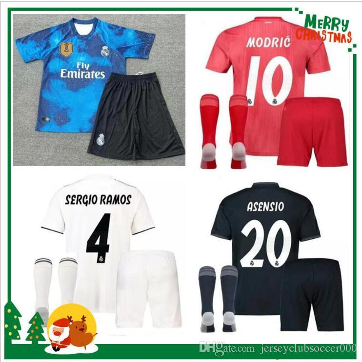 ae2c84bad 2019 18 19 20 Real Madrid Kids Soccer Jersey Kits Boys Child Third ...