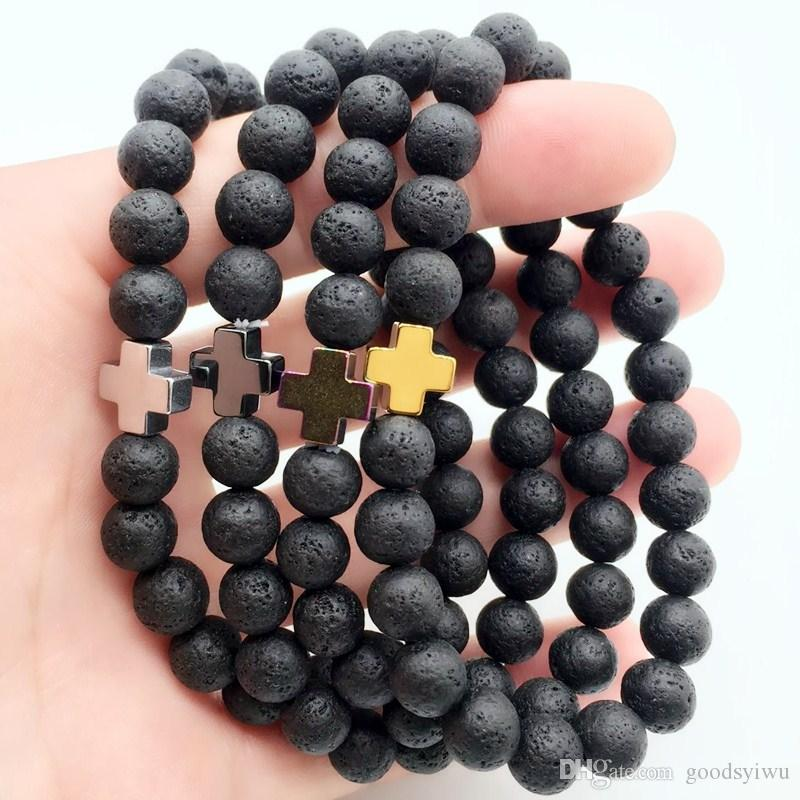 Hematite Cross & 8mm Black Lava Stone Bracelets Aromatherapy Essential Oil Diffuser Bracelet Bangle Energy Prayer Yoga Jewelry