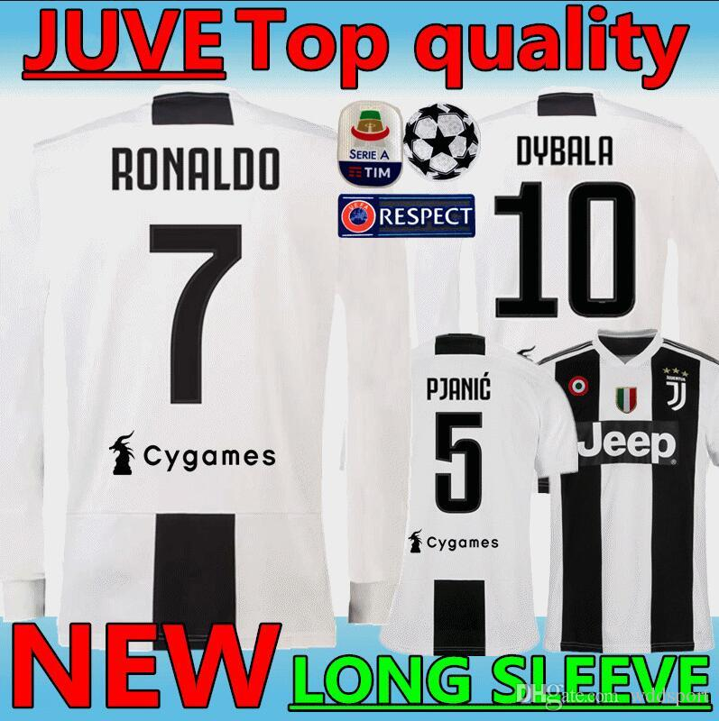best service 7e145 b0f3e New 18 19 #7 RONALDO JUVENTUS Long sleeve Soccer Jerseys 2019 JUVE home #10  DYBALA MANDZUKIC CRISTIANO Thai top quality gray Football Shirt