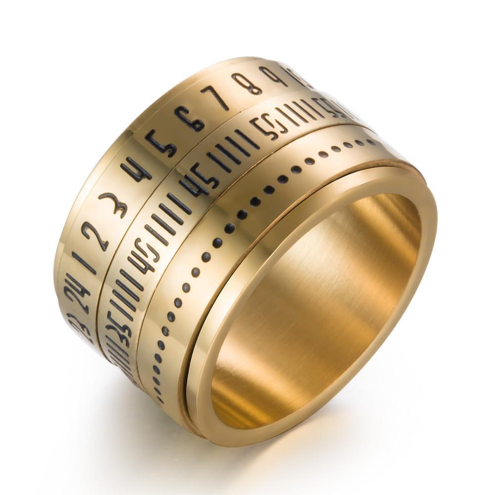 2018 Titanium Steel Time Rings For Men Women Rotated Arabic Numerals