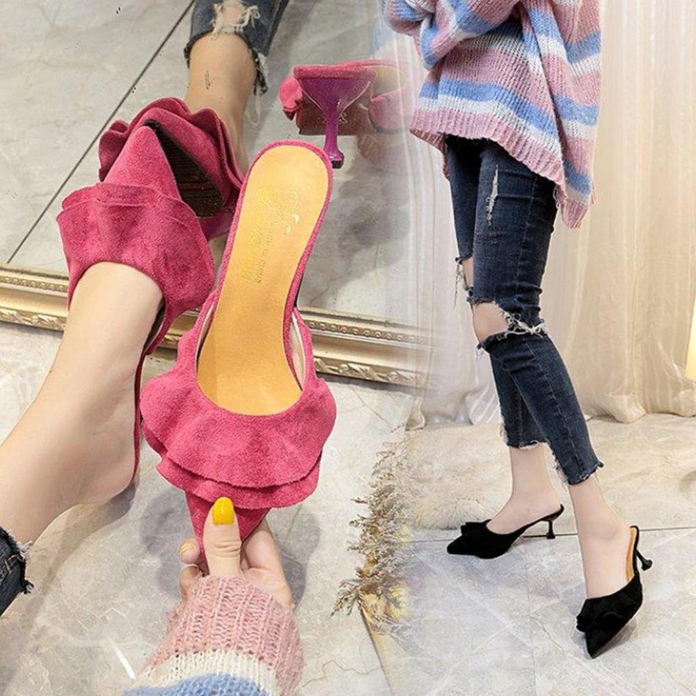 57d68b59089 Dress Shoes Women Pumps Ruffle Suede Kitten Heel Point Toe Mid Heel Casual  Mules Slip On Sexy Elegant Daily Walking Casual Party