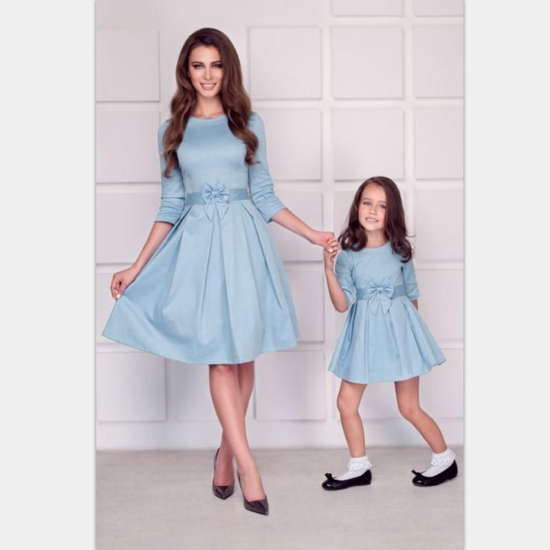 Mommy And Me Mother Daughter Dresses 2018 Autumn Winter Long Sleeve Family Matching Clothes Mama Baby Kid Mom And Daughter Dress J190517