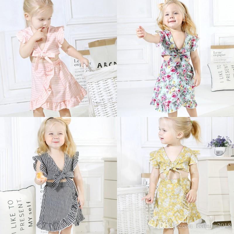 1f54dd171 2019 Baby Fly Sleeve Tops Plaid Skirt Set Infant Fly Sleeve Irregular Plaid  Skirt Set Toddler Asymmetrical Summer Skirt From Fortnite2018, $5.67    DHgate.