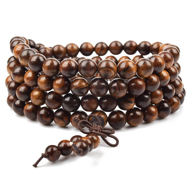 Sennier Natural Tiger skin wood Prayer Beads Bracelets Tibetan Buddha Rosary Necklace Women Men Yoga Charm Bracelet