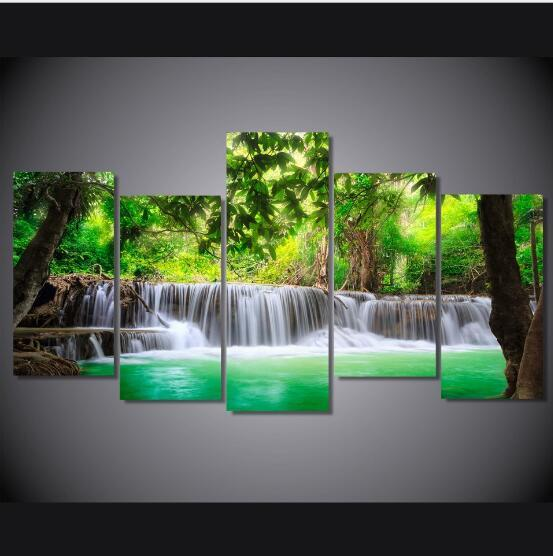 Canvas Posters Home Decor HD Prints 5 Pieces Natural Waterfall Paintings Wall Art Scenery Pictures Modular Living Room