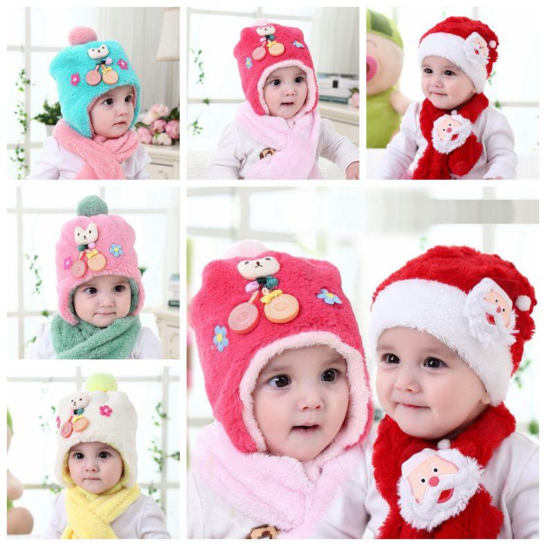 c3dc0f27fa7 Baby Christmas Hats Scarf Set Plush Santa Claus Cap Christmas ...