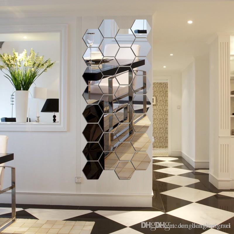 Hexagon Acrylic Mirror Wall Stickers DIY Art Decor Home Living Room Mirrored Decorative Sticker Wn628 Australia 2019 From