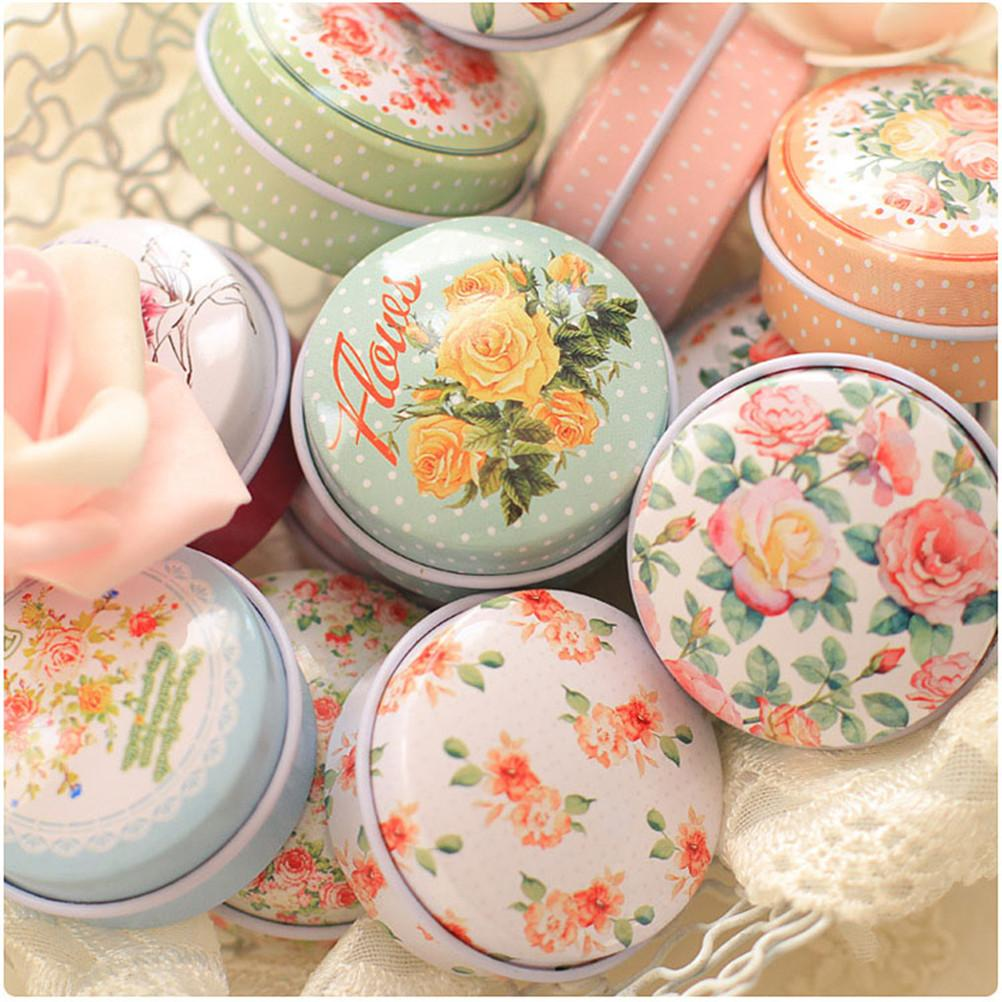 Retro Flowers Tea Caddy Receive Box Europe type style Box Wedding Favor Tin Box Candy Organizer Container Random Color