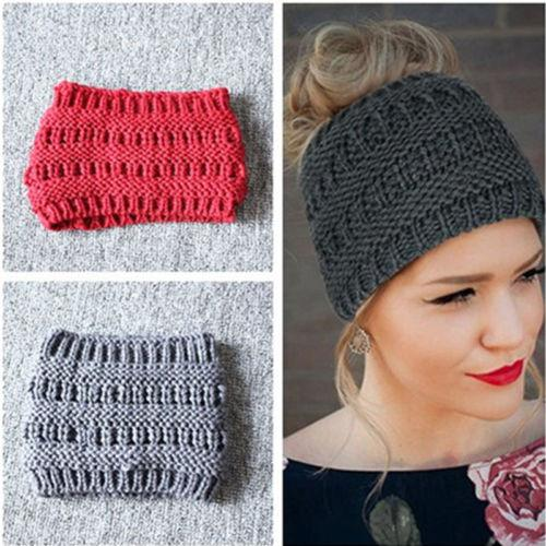 f698e665647 Women Lady Knitted Headband Beanie Ponytail Hat Bun Knitted Pure Color  Stretchy Winter Warm Caps
