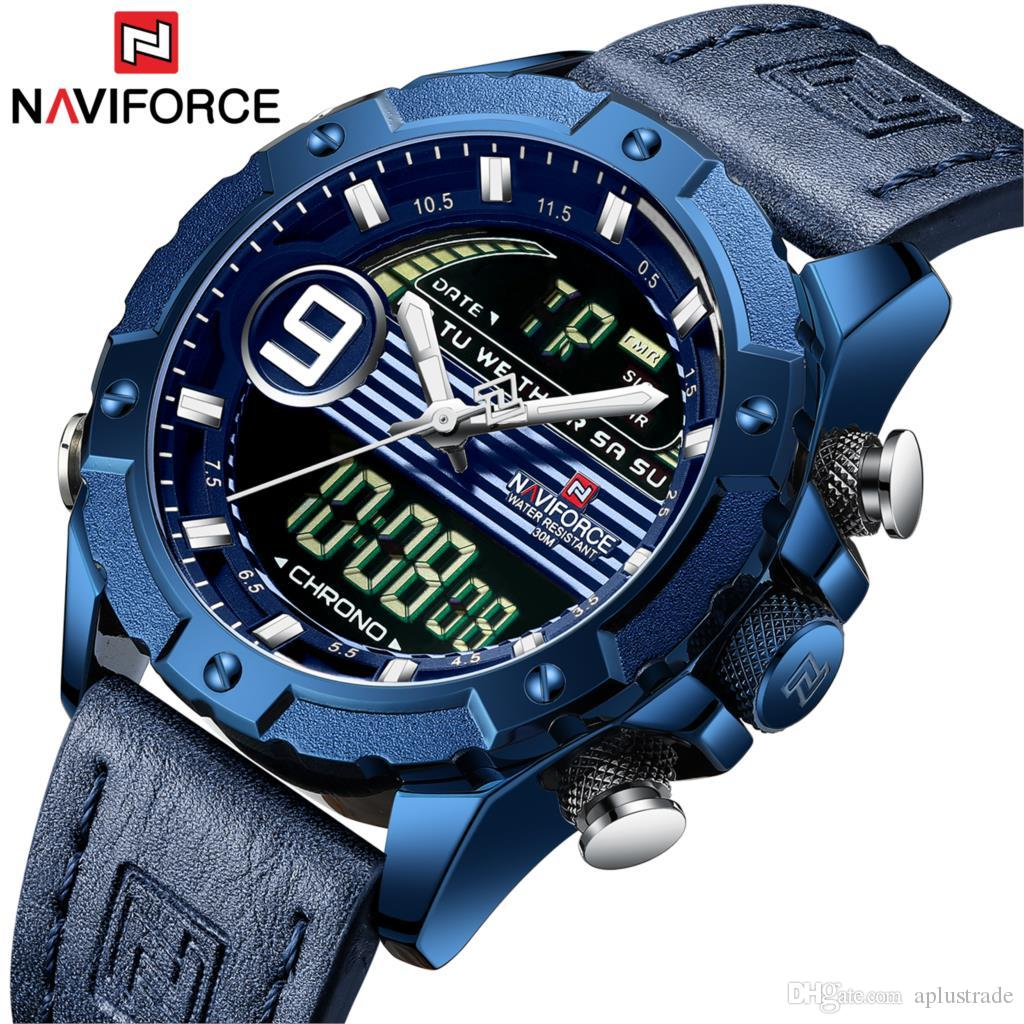 025a32155 NAVIFORCE Brand New Blue Men Watch Leather Sports Chronograph Military  Watches Quartz Clock Analog Digital 3ATM Waterproof With Original Box Low  Price ...