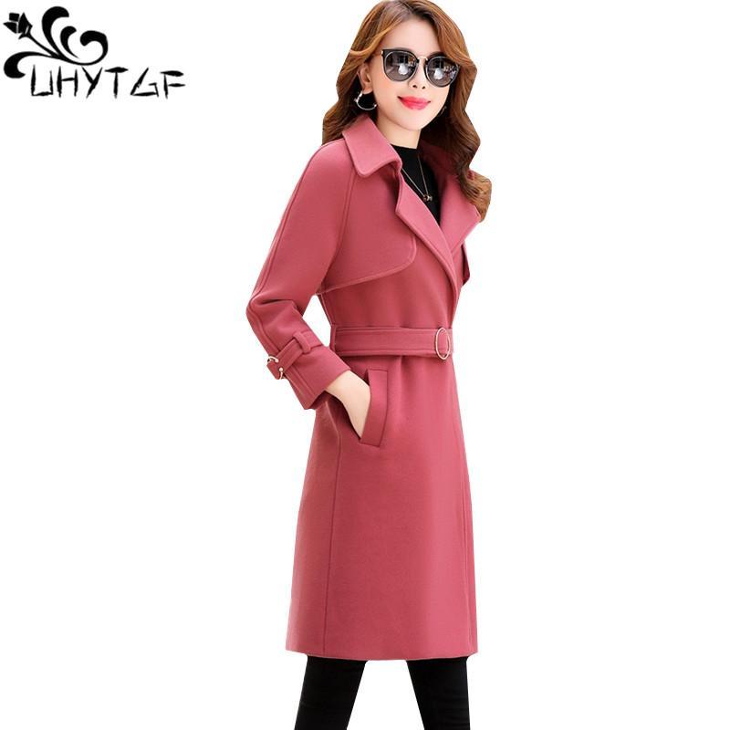 2131c43081 UYTGF Coreano moda femminile Autunno Inverno Giacca di lana Doppio petto  Donna slim lungo Cappotti di lana Giacche donna plus size 159
