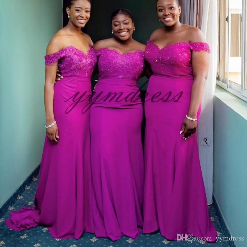 aaf5e97486de Africa Mermaid Bridesmaid Dress 2019 Off Shoulder Cap Sleeves Lace Applique  Beads Maid Of Honor Gowns Wedding Gust Dress Two Piece Bridesmaid Dresses  Asian ...