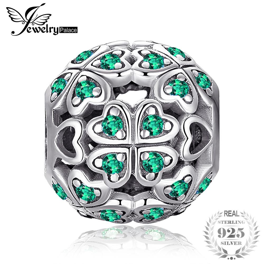 b93561c44fb 2019 JewelryPalace 925 Sterling Silver Lucky Flora Round Green Cubic  Zirconia Four Leaf Clover Heart Charm Beads Fit Bracelets DIY From Kwind