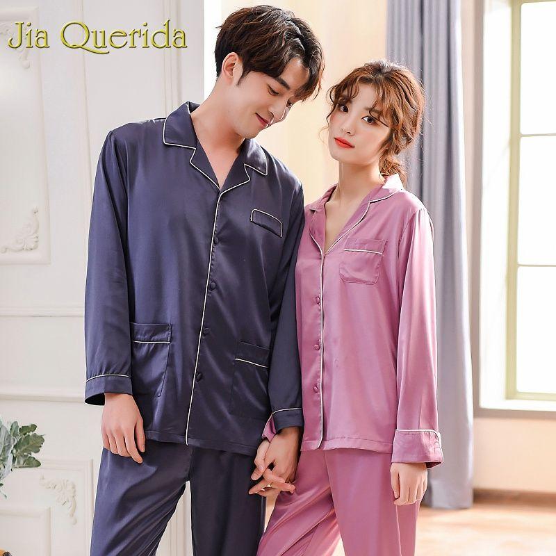 750b045d1bb3 2019 J Q Mens Pajama Set Summer 2019 Fashion Sleepwear Men And Women Pajamas  Satin Silk Couples Sleep Set Matching Couples Pajamas From Piaose