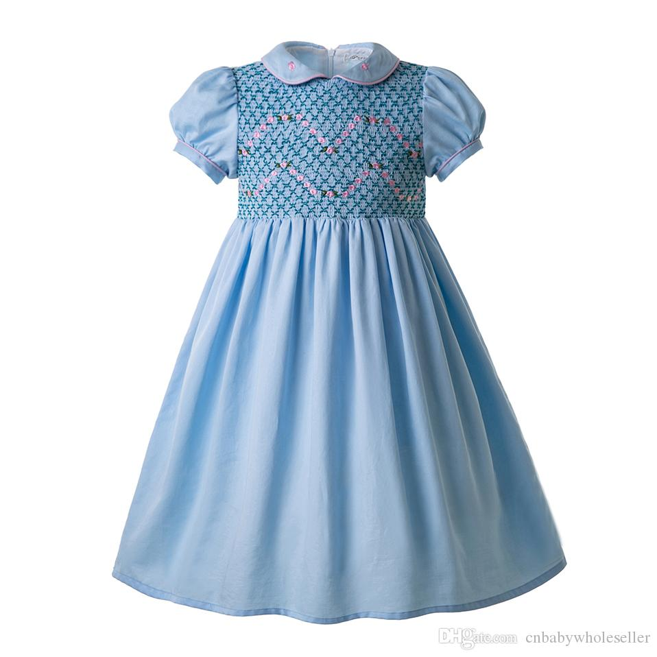 1032519e0f981 2019 Pettigirl Blue Doll Collar Smocked Outfits Smocked Dresses Kids  Designer Clothes Girl For Infants Boutique Ruffle Dress G DMGD109 C96 From  ...