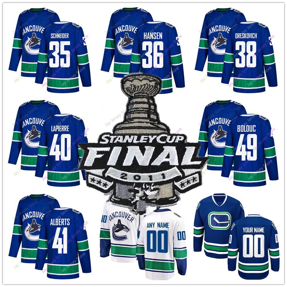 2019 2011 Stanley Cup Jersey Ice Hockey Vancouver Canucks Cory Schneider Jannik  Hansen Victor Oreskovich Maxim Lapierre Andrew Alberts Bolduc From ... 96be00551