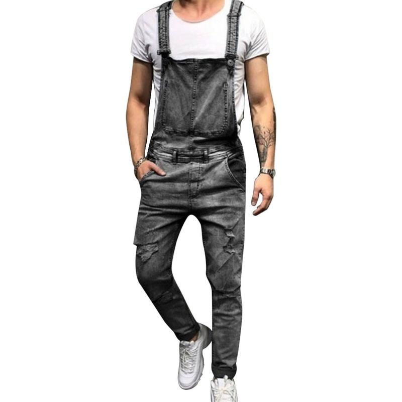 Laamei 2019 Spring Summer Fashion Men Ripped Jeans Jumpsuits EU Size Street Distressed Denim Overalls Male Suspender Pants Z35
