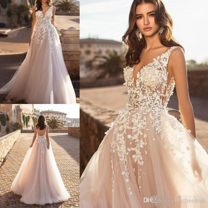 7511655cd7d9 Discount Naviblue 2019 Dolly V Neck Beach Wedding Dresses Sexy Backless 3D  Floral Appliqued Lace Bridal Gowns Sweep Train Tulle Vestido De Novia  Strapless A ...