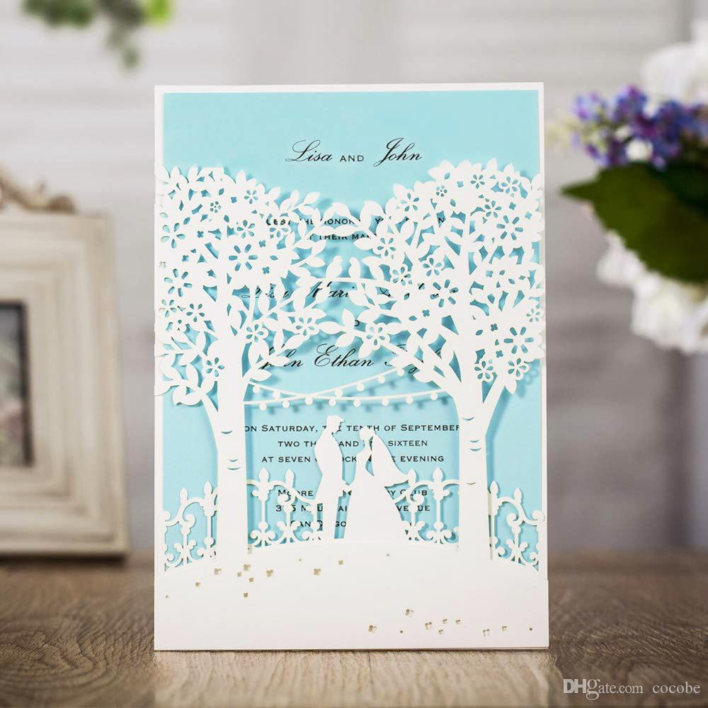 WISHMADE 50pcs White Wedding Invitations with Laser Cut Trees Bride and Groom Design Invites Cards Inner Paper for Birthday Party Favor