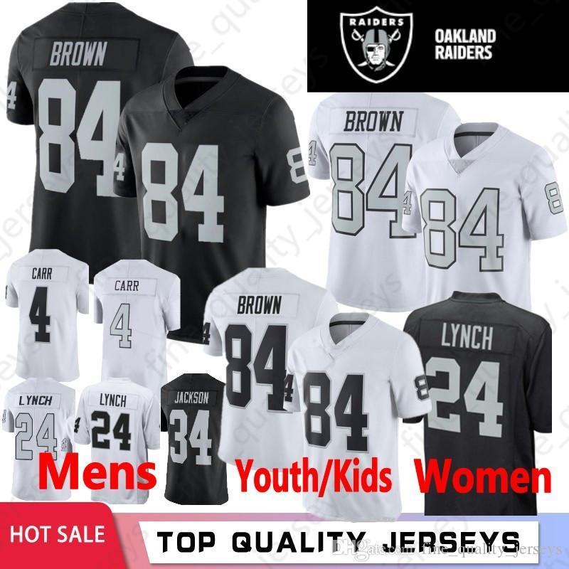 huge discount 07027 eab75 84 Antonio Brown Men Youth Women 2019 Latest Jerseys Oakland 4 Derek Carr  Raiders 24 Marshawn Lynch 34 Bo Jackson Football Wear