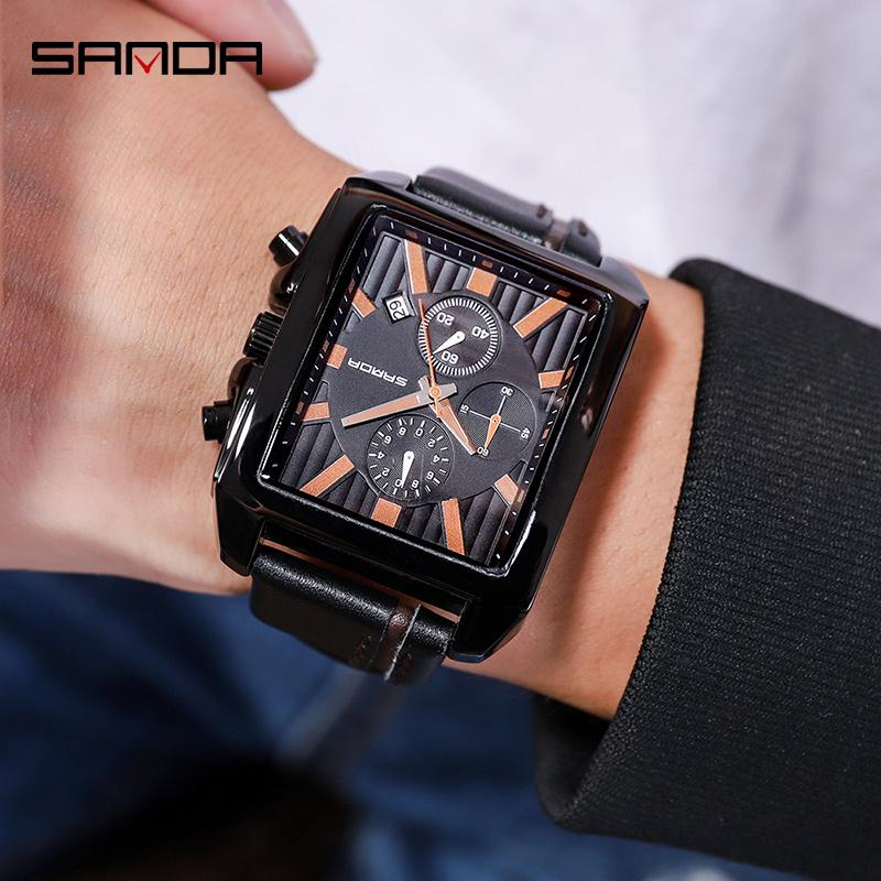 8e2e9c71664 Compre Homens De Luxo Relógios De Quartzo Calendário Relógio De Pulso  Digital Marca De Topo SANDA Moda Pulseira De Couro De Negócios À Prova D   Água Relógio ...