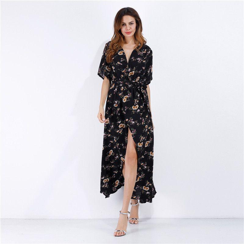 3f34d9561 2019 Deep V Lead Multicolor Short Sleeve Chiffon 2015 Shivering Sandy Beach  Skirt Printing Vent Mini Club Dress Woman Dresses Models Casual Halter Dress  ...
