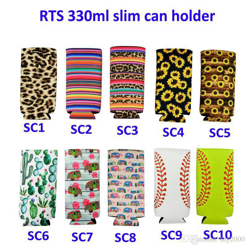 330ml Neoprene Cans Cups Cover Lily Elongated Cups case leopard Sunflower Floral Pattern Cup sleeve Beverage Coolers Protector Tool