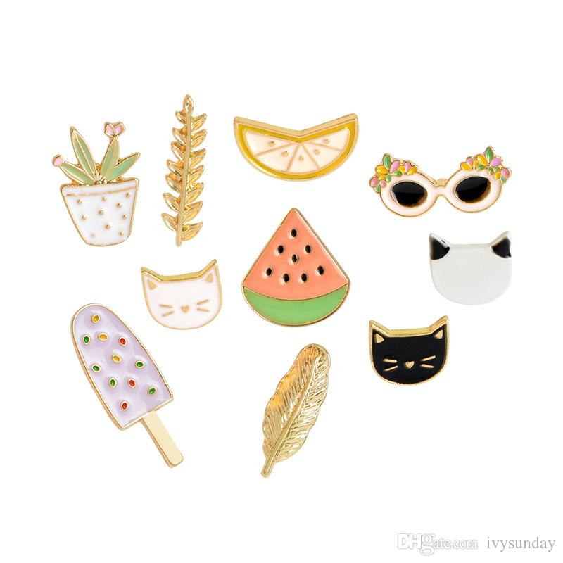 Arts,crafts & Sewing 1pc Cartoon Fruit Watermelon Metal Badge Brooch Button Pins Denim Jacket Pin Jewelry Decoration Badge For Clothes Lapel Pins