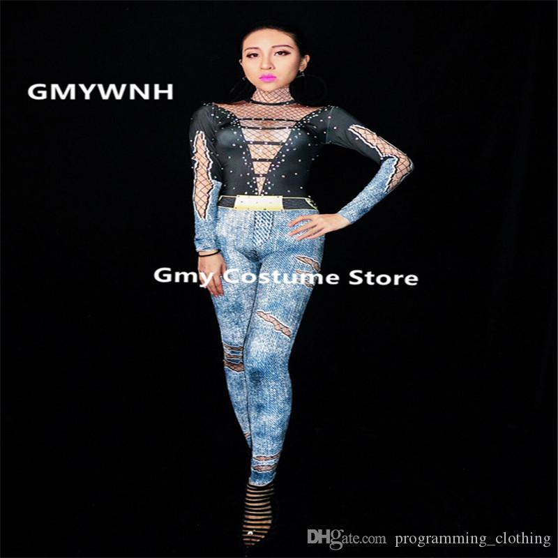 6c2074227f944 2019 D53 Ballroom Dance Jeans Women Bodysuit Sexy Dj Jumpsuit Printed Singer  Outfits Rhinestone Stage Costumes Perform Bar Wear Club Dresses Bar From ...