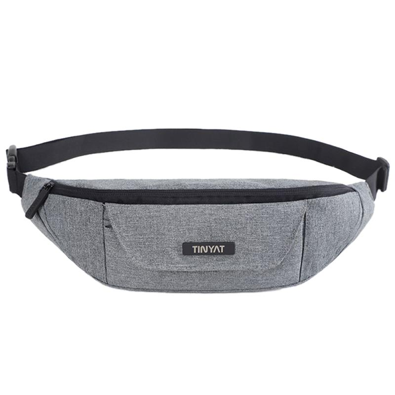Tinyat Men Waist Bag Functional Waist Pack Casual Belt Bag Pouch For Phone Money 3 Pockets Large Belt Pack Canvas Fanny
