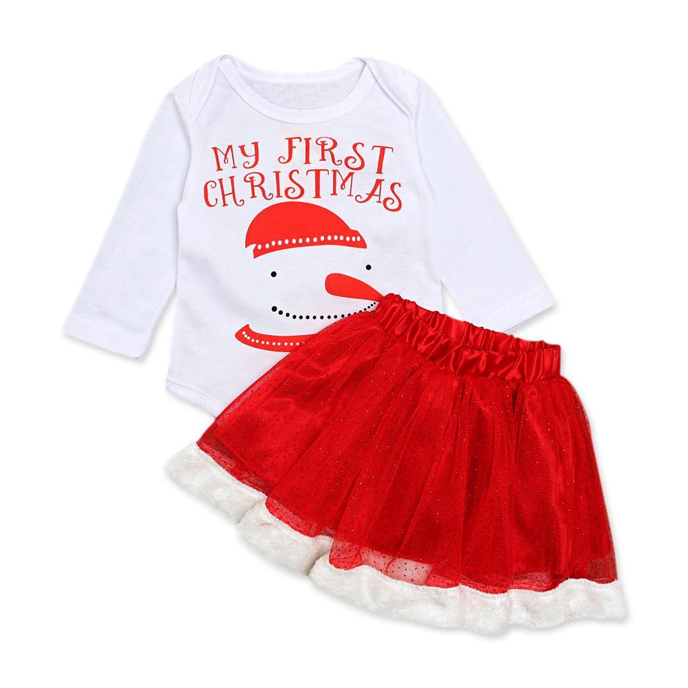 e155976b9 Bebé recién nacido bebés niñas muñeco de nieve navidad navidad mameluco  tutu falda trajes otoño invierno mantener caliente conjunto envío de la ...