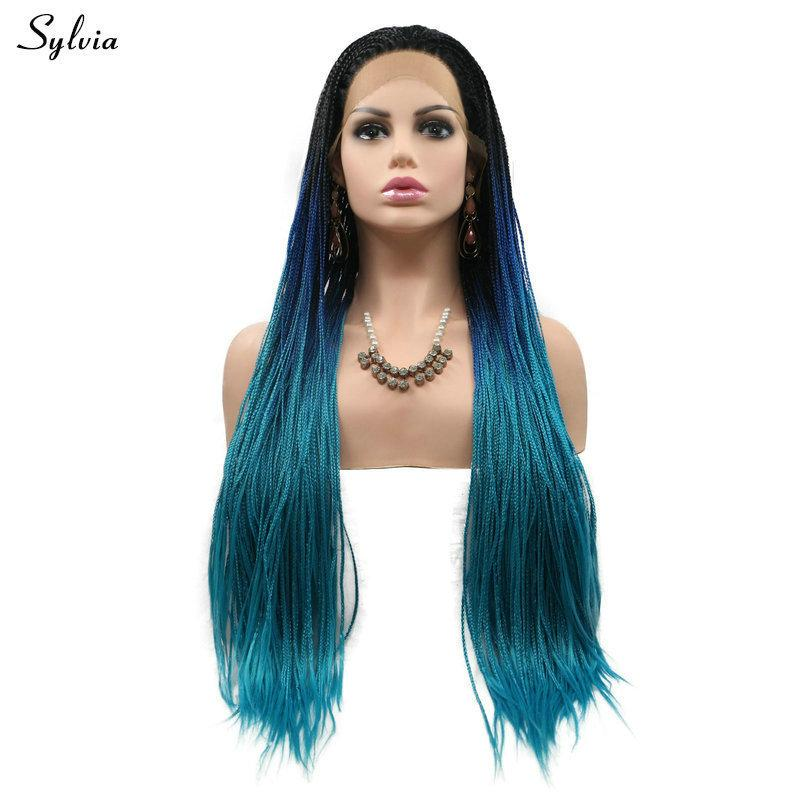 Black Ombre Dark Blue Blue Synthetic Handmade Braided Lace Frontal Wigs For Women Long Hair Cosplay Heat Resistant Fiber