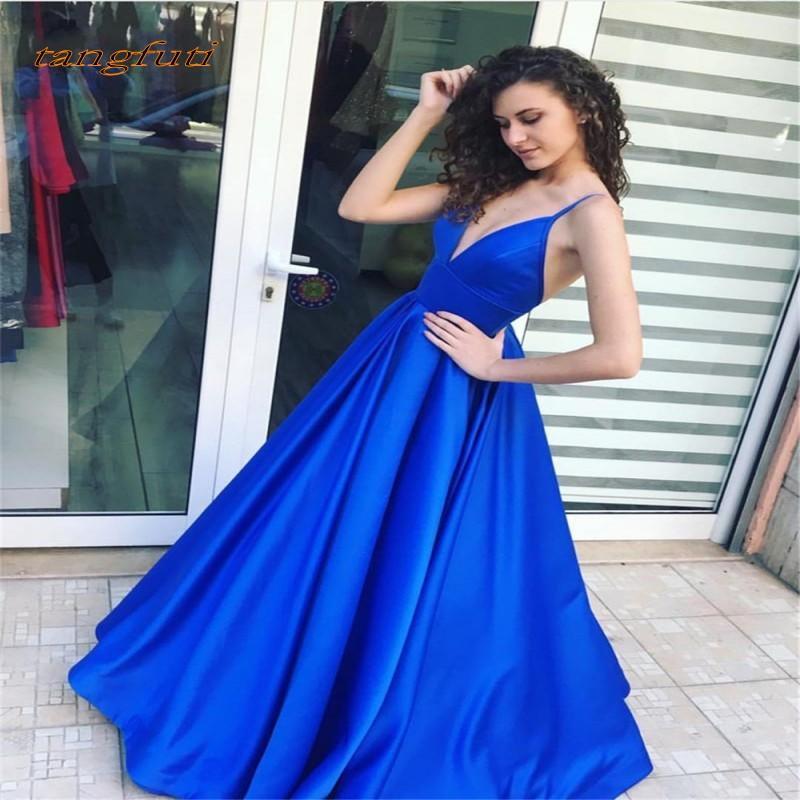 2b96ba07e4fff2 Compre Largos Vestidos De Fiesta Azules De Satén Una Línea Sin Respaldo  Mujeres Sexy Vestidos De Fiesta 2019 Vestido De Fiesta De Alta Calidad  Fiesta De ...