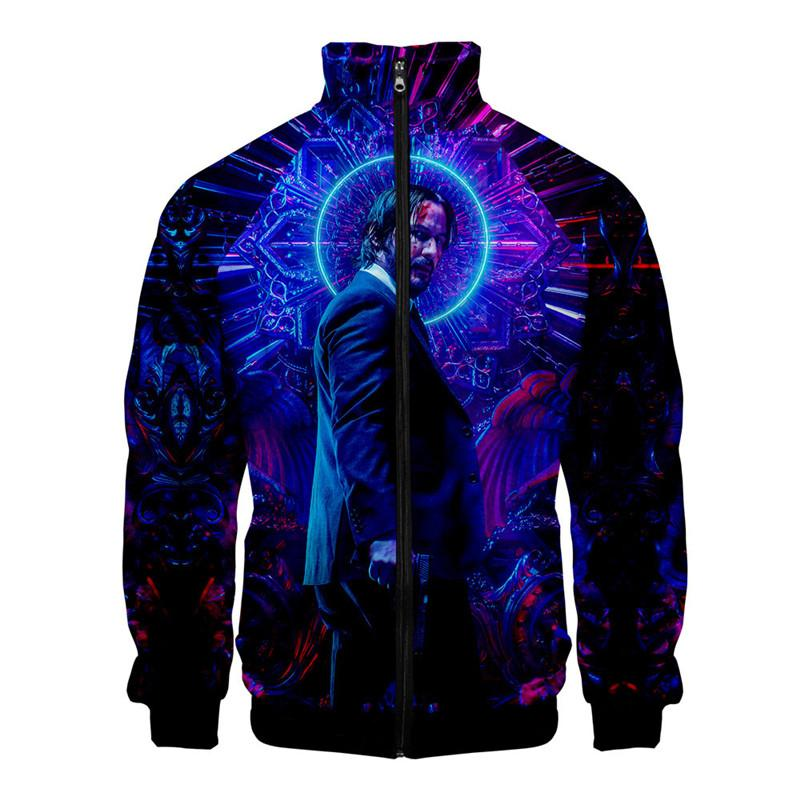 3D Digital Print John Wick 3 Mens Jackets Stand Collar Long Sleeve Spring Mens Outwear Fashion Designer Mens Coats