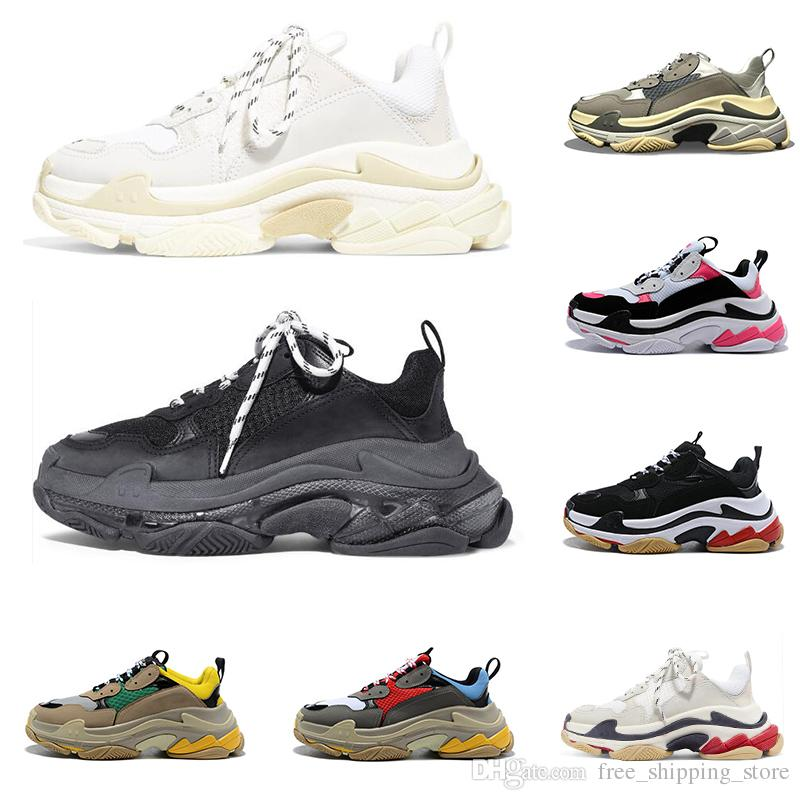2019 Hot sale triple s men women designer shoes black white red grey fashion luxury sneakers old dad shoe