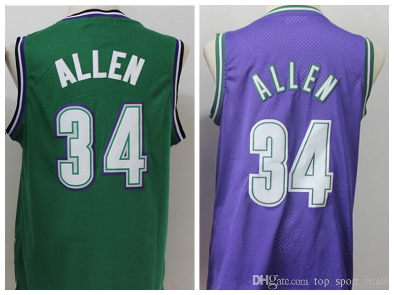 huge selection of 6d706 71c66 Vintage Ray Allen Jerseys # 34 Barato Verde Roxo Ray Allen Basquete Jersey  College Camisas Azul Top Qualidade Costurado Frete Grátis S-XXXL
