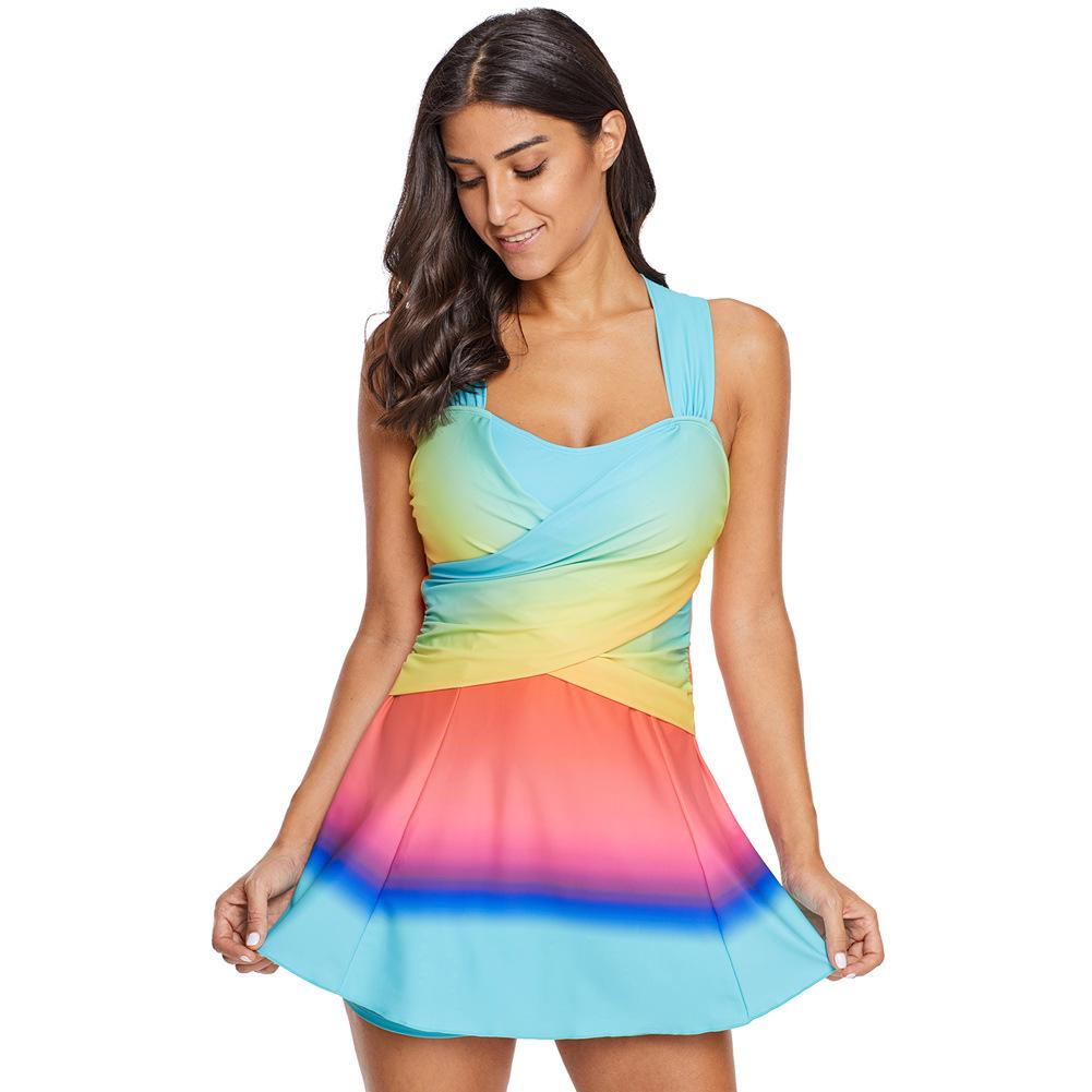 ba290c85faf 2019 Women Print Swimwear Tankini Light Blue SwimDress With Shorts L10680 Plus  Size Swimsuit Sport Two Pieces Beach Wear XXXL From Ysanli, $40.7 | DHgate.