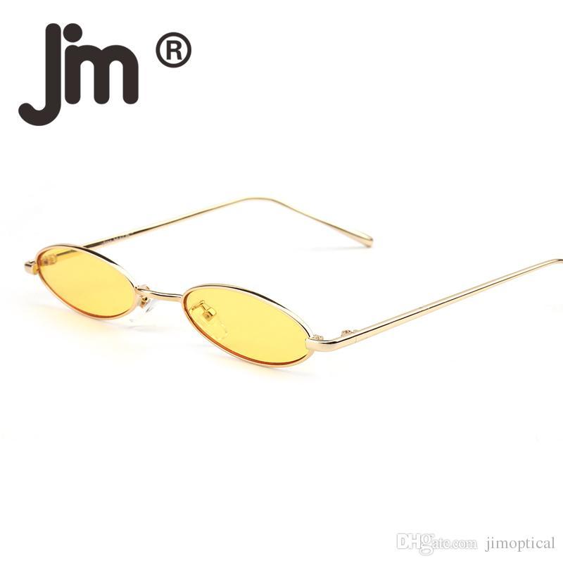 68140cc345de Small Oval Sunglasses Women Brand Designer Slim Retro Silver Red Yellow  Clear Tint Lens Slender Sun Glasses Shades Dragon Sunglasses Vintage  Sunglasses From ...