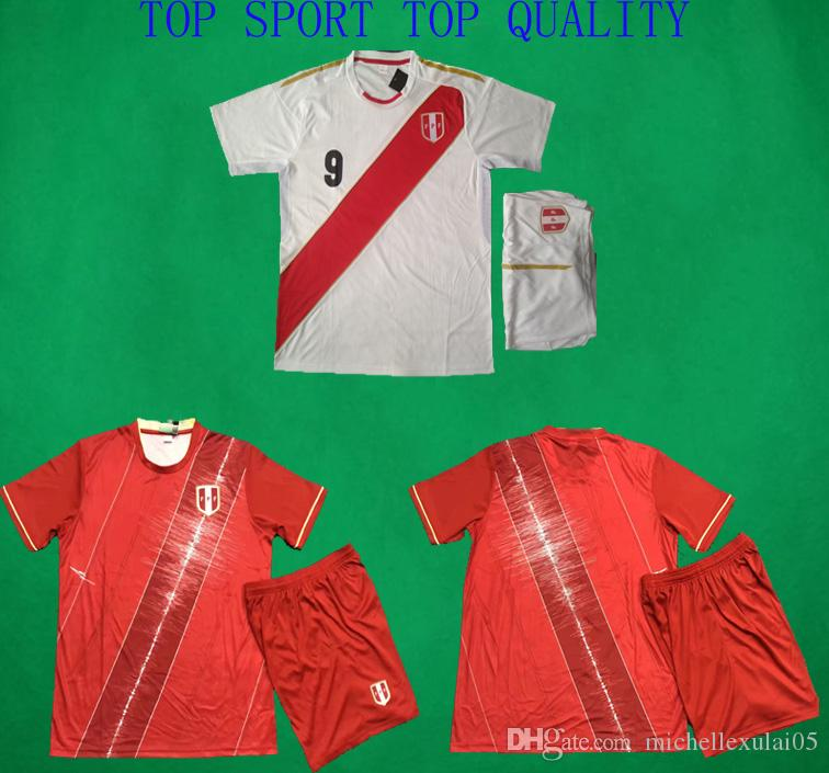22a7eea0a Peru 2018 Home White Soccer jerseys 19 20 Peru Away Red Football Kits men s  outdoor casual training sports suits soccer set Football Uniform
