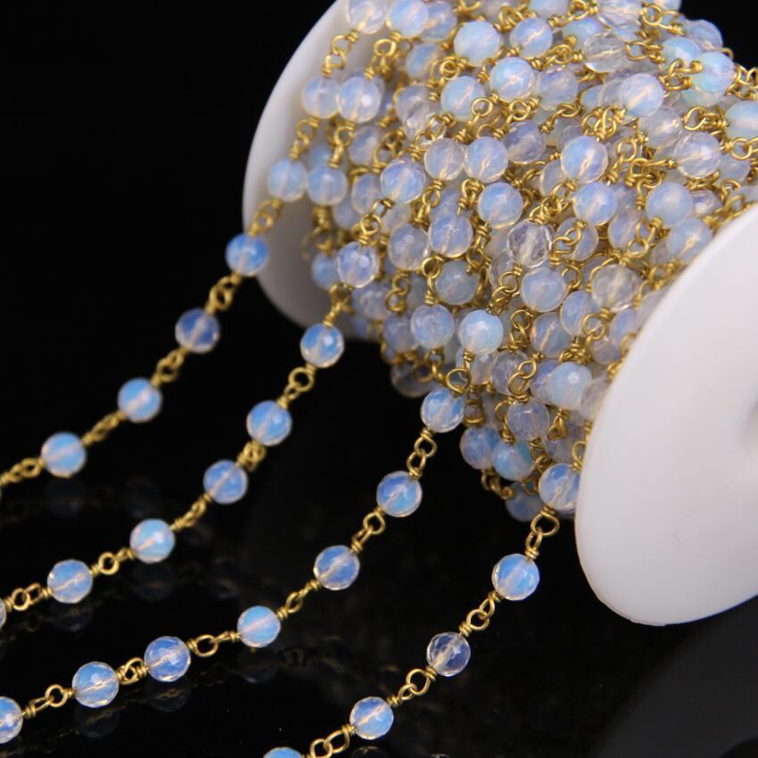 6222f5000ee Acheter Chaîne De Chapelet De Perles Rondes À Facettes En Pierre Opale De 6  Mm