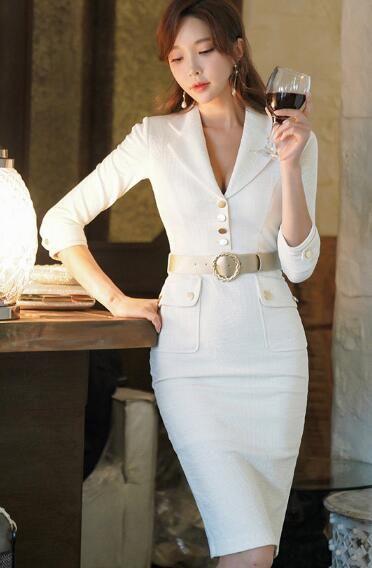 f67fda1f9f4 2019 Korean Version of the Spring Office Lady Temperament Seven-point  Sleeves Slim Suit Collar Bag Hip Fashion Dress Fashion Women s Dress Work  Dresses Slim ...