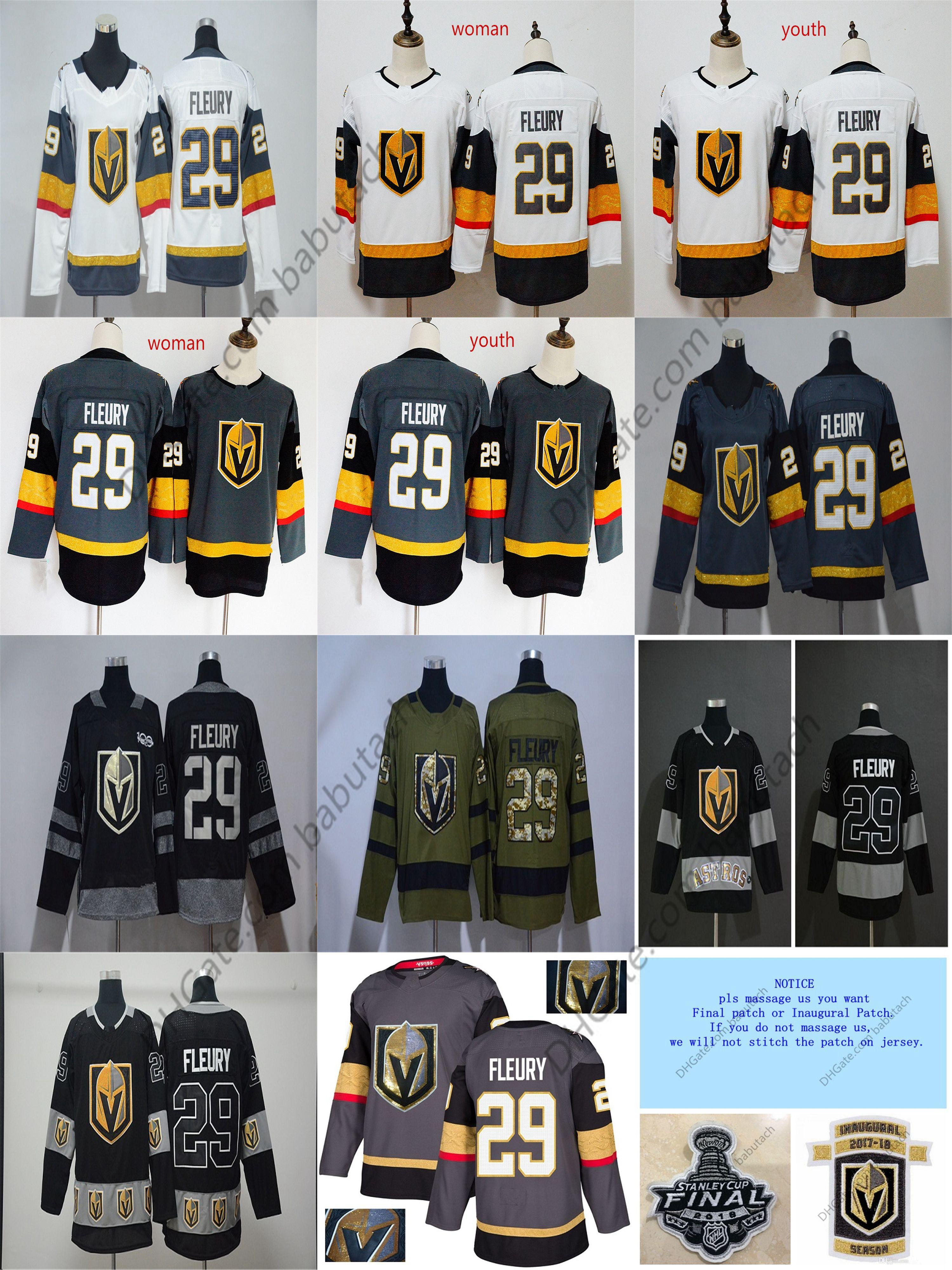 quality design 7ea02 558f8 Vegas Golden Knights Jersey 2018 Stanley Cup Finals 29 Marc-Andre Fleury  Jersey 100th Mans Woman Youth customize Hockey jerseys