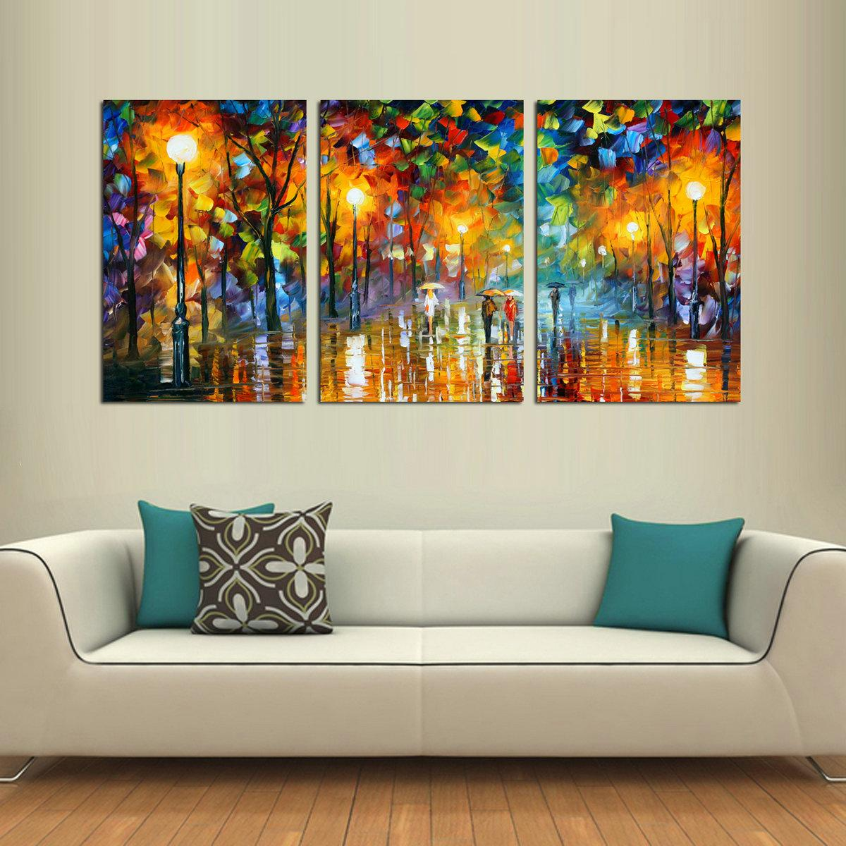 Oil Painting HD Print Leonid Afremov Abstract People Walking On The Street On Canvas Modern Decoration Wall Art Without Framed / With framed