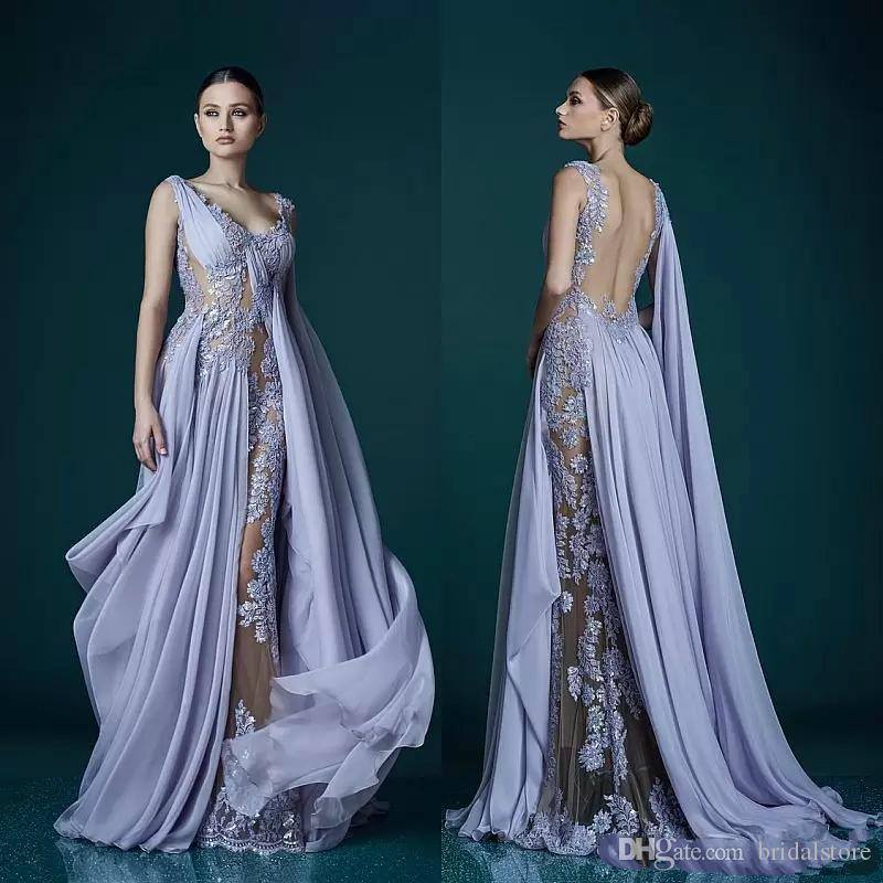 c308d398995 Sexy Backless Lavender Evening Dresses With Wrap Appliques Long Celebrity  Prom Party Gowns 2019 Saudi Arabia Dresses Long Evening Dresses Perth From  ...
