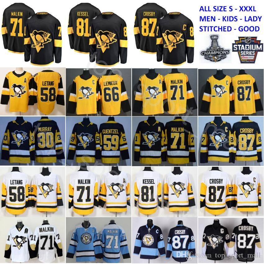 2019 2019 Stadium Series Pittsburgh Penguins Jersey 87 Sidney Crosby 71  Evgeni Malkin Phil Kessel Kris Letang Lemieux Matt Murray Guentzel Hockey  From ... f8ddc79a0