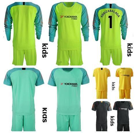 dfd2e8dad 2019 2018 KIDS Soccer Goalkeeper Jersey Kit  1 ARRIZABALAGA  13 CABALLERO   31 GREEN  10 HAZARD DAVID LUIZ KIDS Soccer Shirt Goalie Kit From Zhuhao2